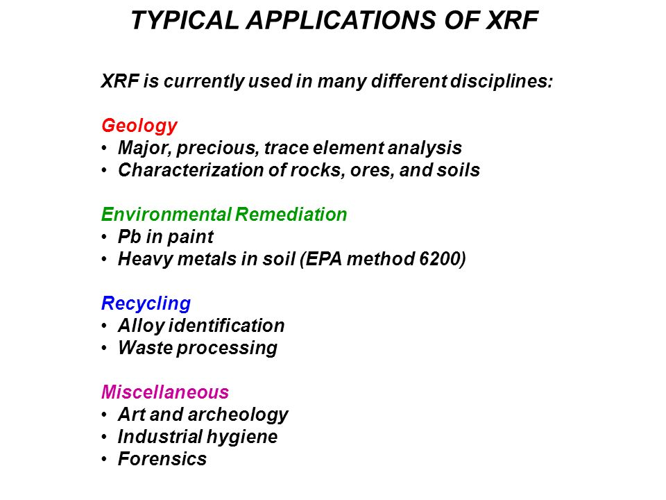 REFERENCES AND ADDITIONAL READING Good non-commercial website with XRF info www.learnxrf.com Excellent reference text on the subject matter R.