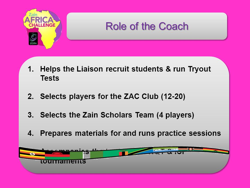 Role of the Coach 1. Helps the Liaison recruit students & run Tryout Tests 2. Selects players for the ZAC Club (12-20) 3. Selects the Zain Scholars Te