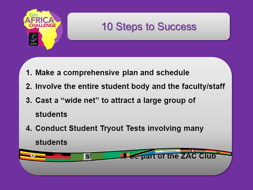 10 Steps to Success 1.Make a comprehensive plan and schedule 2.Involve the entire student body and the faculty/staff 3.Cast a wide net to attract a la