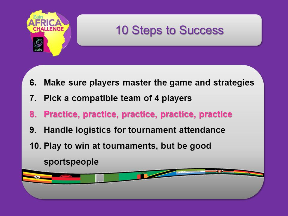 10 Steps to Success 6.Make sure players master the game and strategies 7.Pick a compatible team of 4 players 8.Practice, practice, practice, practice,