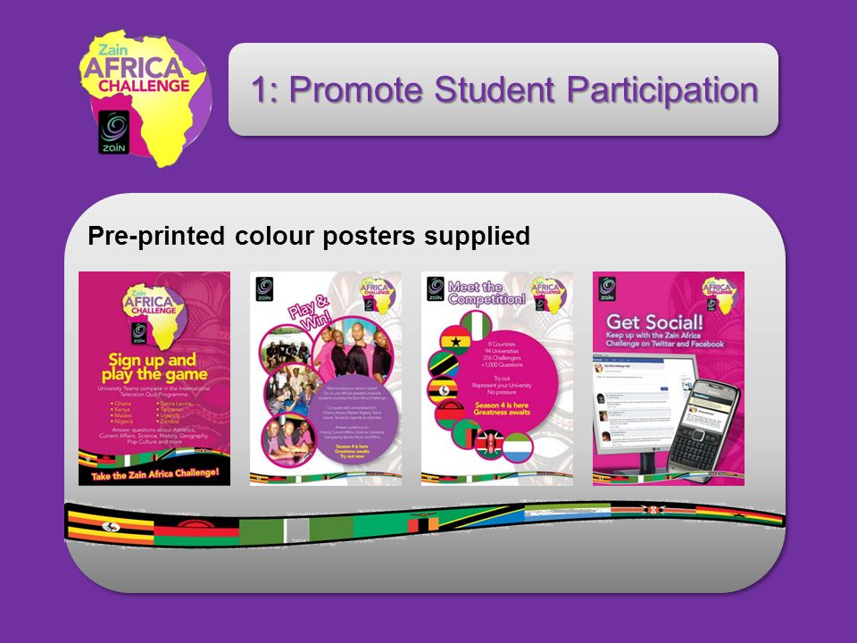 1: Promote Student Participation Pre-printed colour posters supplied