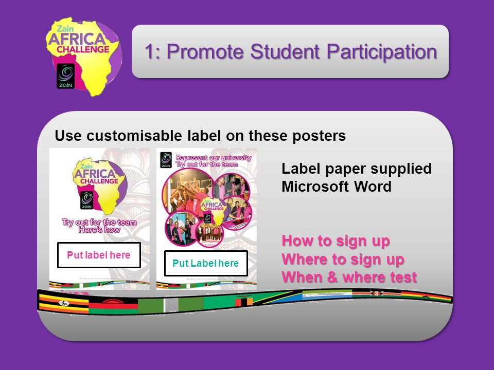 How to sign up Label paper supplied Microsoft Word template How to sign up Where to sign up Where to sign up When & where test given When & where test