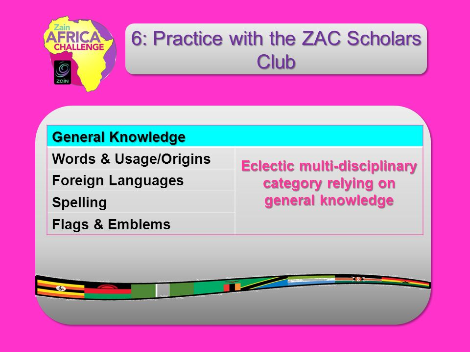 General Knowledge Words & Usage/Origins Eclectic multi-disciplinary category relying on general knowledge Foreign Languages Spelling Flags & Emblems 6