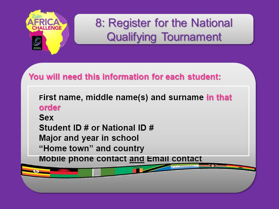 You will need this information for each student: You will need this information for each student: in that order F irst name, middle name(s) and surnam