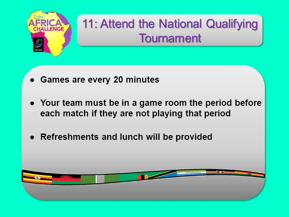 Games are every 20 minutes Your team must be in a game room the period before each match if they are not playing that period Refreshments and lunch wi