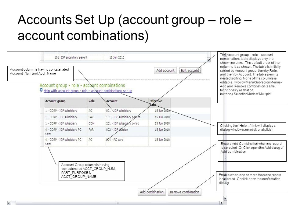 Accounts Set Up (account group – role – account combinations) The Account group – role – account combinations table displays only the shown columns.
