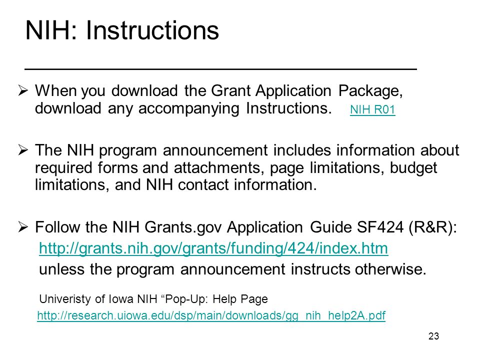 23 NIH: Instructions _________________________________ When you download the Grant Application Package, download any accompanying Instructions.