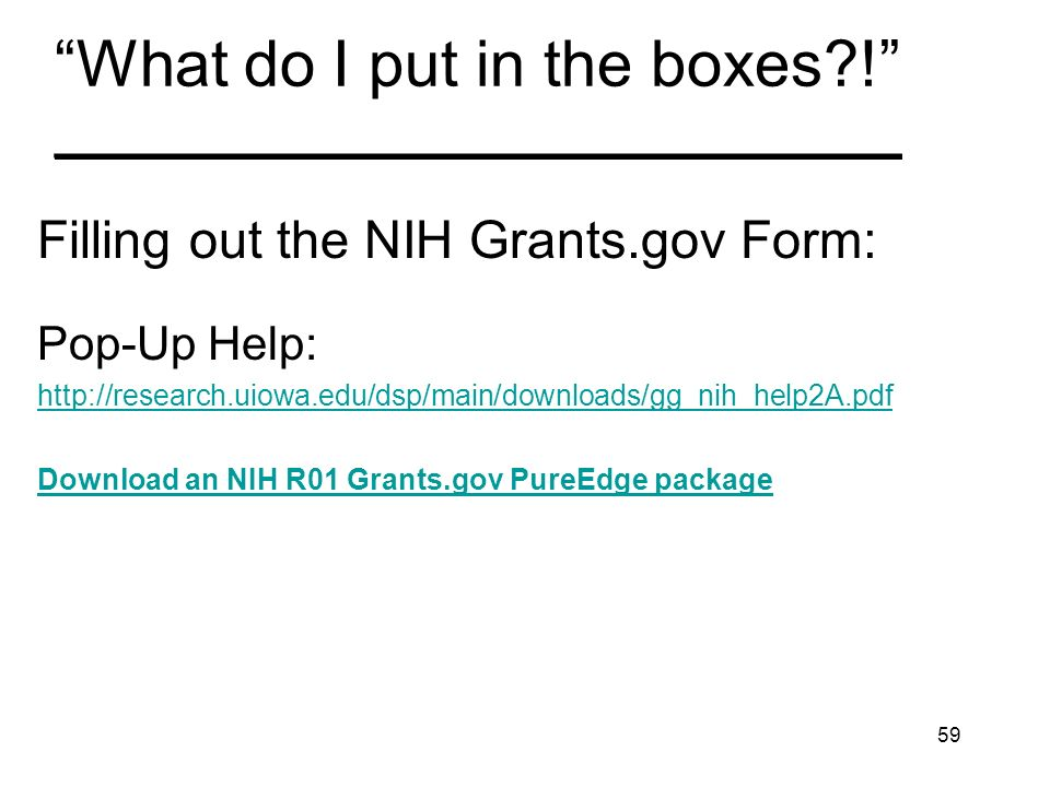 59 What do I put in the boxes?! _______________________________ Filling out the NIH Grants.gov Form: Pop-Up Help: http://research.uiowa.edu/dsp/main/d
