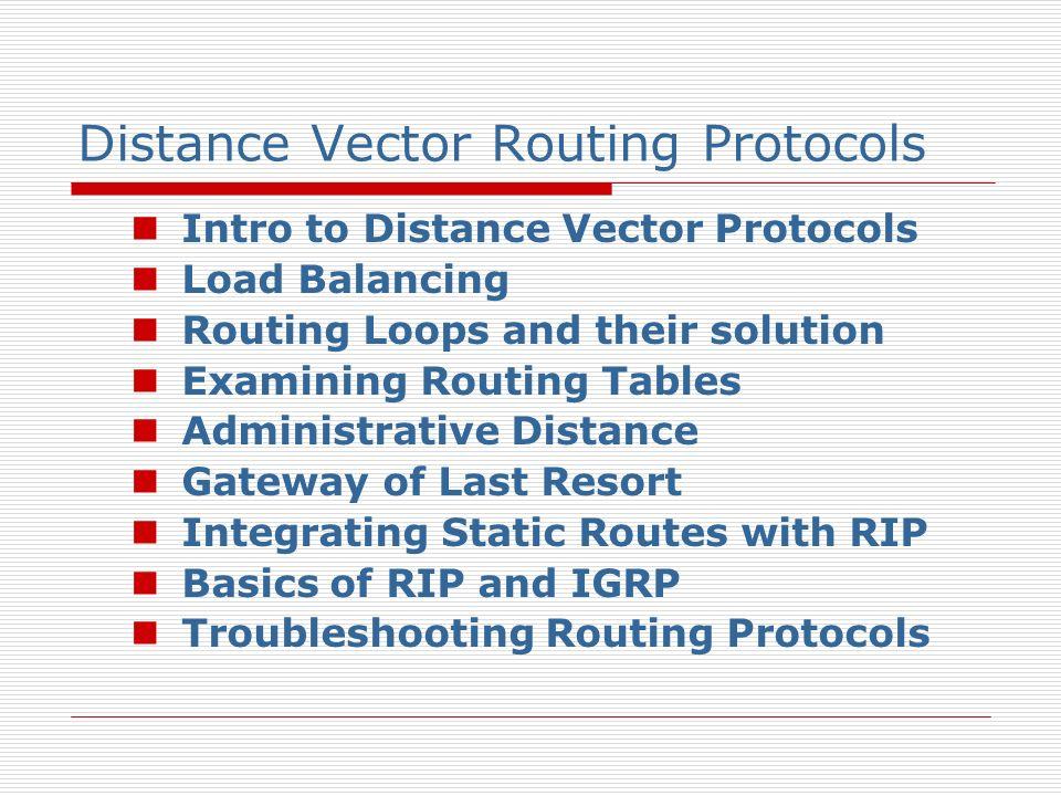 Distance Vector Protocols Intro.