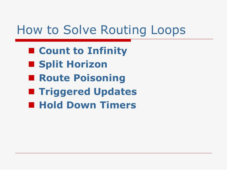 How to Solve Routing Loops Count to Infinity Split Horizon Route Poisoning Triggered Updates Hold Down Timers