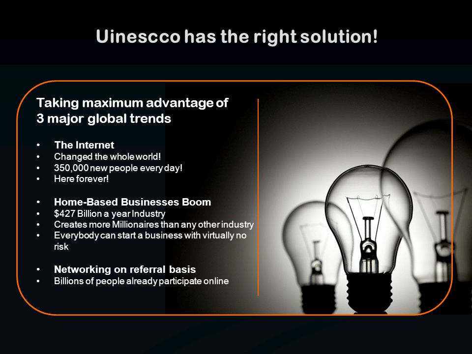 Uinescco has the right solution! Taking maximum advantage of 3 major global trends The Internet Changed the whole world! 350,000 new people every day!