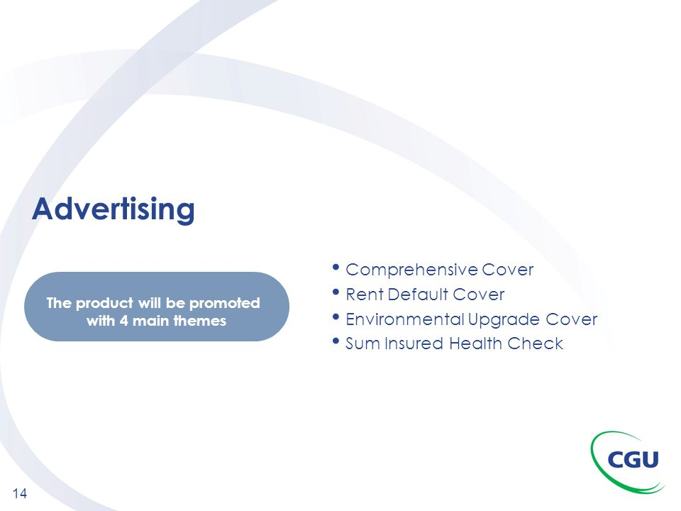 14 Advertising Comprehensive Cover Rent Default Cover Environmental Upgrade Cover Sum Insured Health Check The product will be promoted with 4 main th