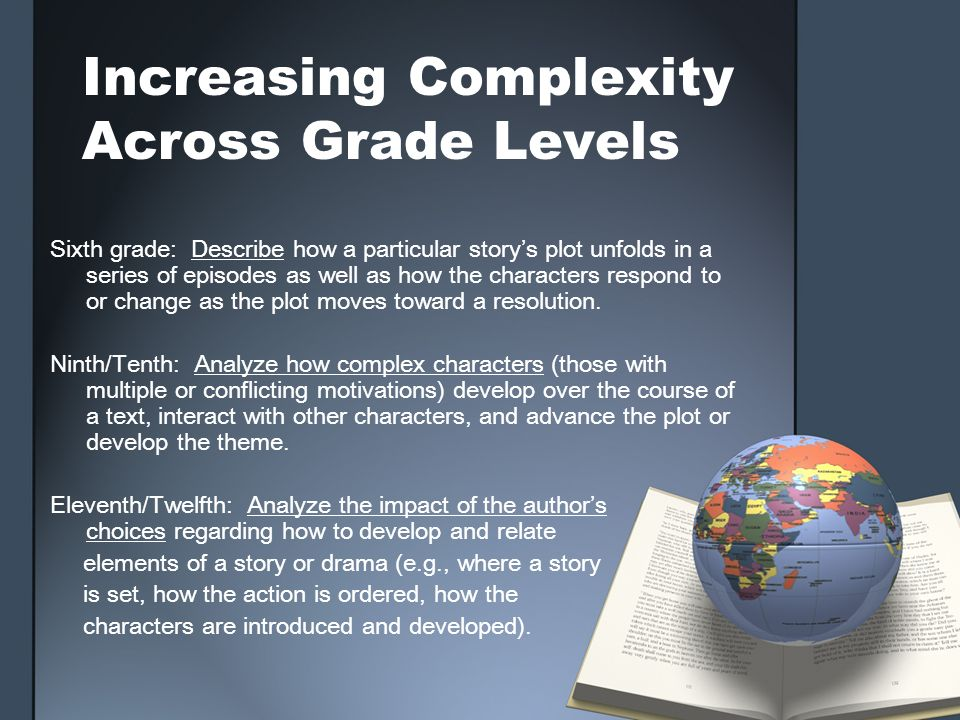Increasing Complexity Across Grade Levels Sixth grade: Describe how a particular storys plot unfolds in a series of episodes as well as how the charac