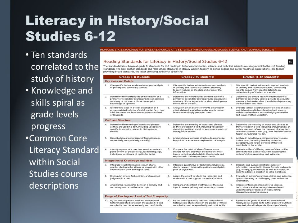 Literacy in History/Social Studies 6-12 Ten standards correlated to the study of history Knowledge and skills spiral as grade levels progress Common C