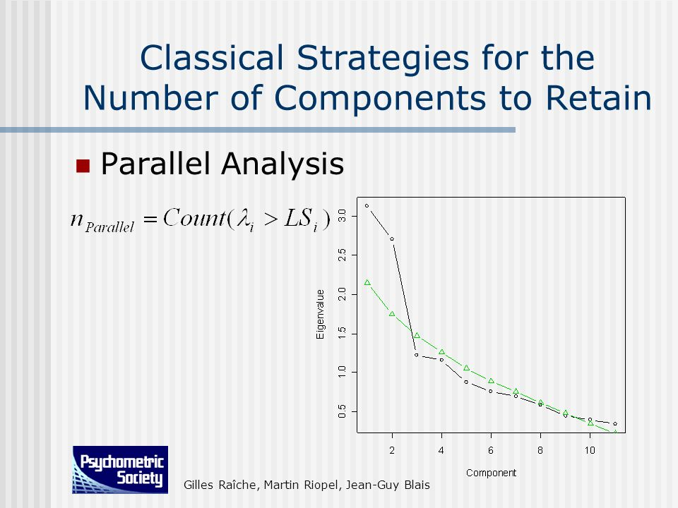 Gilles Raîche, Martin Riopel, Jean-Guy Blais Classical Strategies for the Number of Components to Retain Parallel Analysis