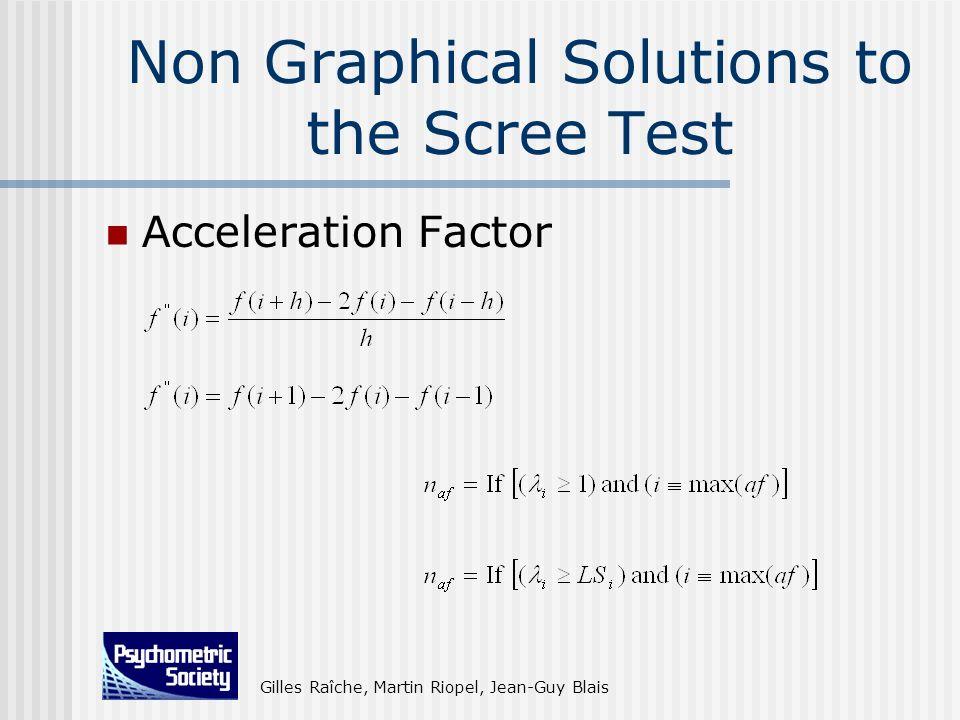 Gilles Raîche, Martin Riopel, Jean-Guy Blais Non Graphical Solutions to the Scree Test Acceleration Factor