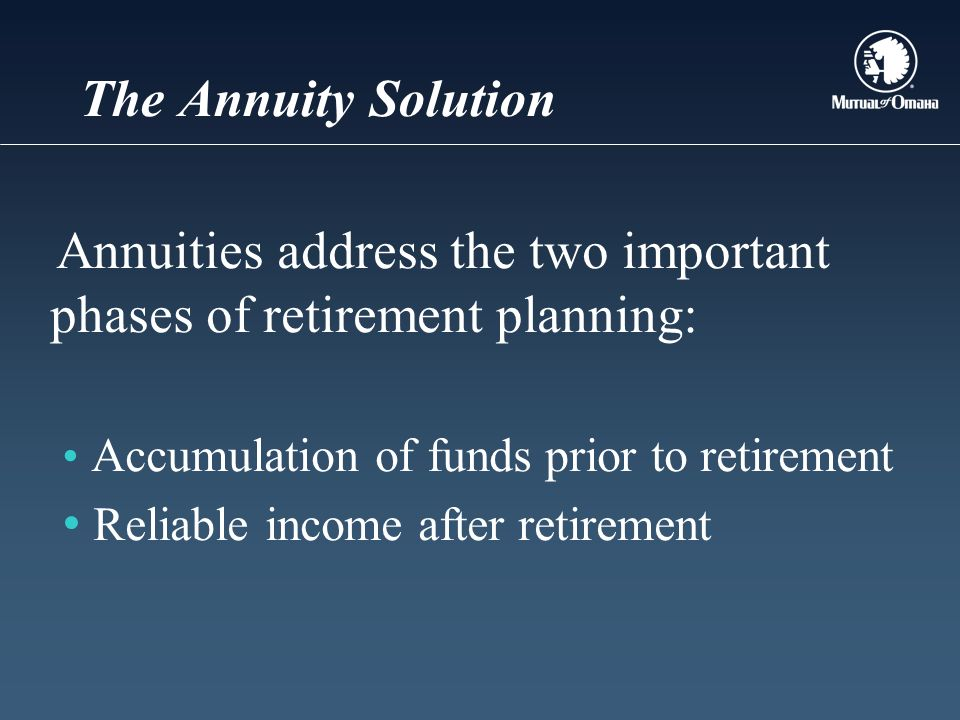 The Annuity Solution Annuities address the two important phases of retirement planning: Accumulation of funds prior to retirement Reliable income afte