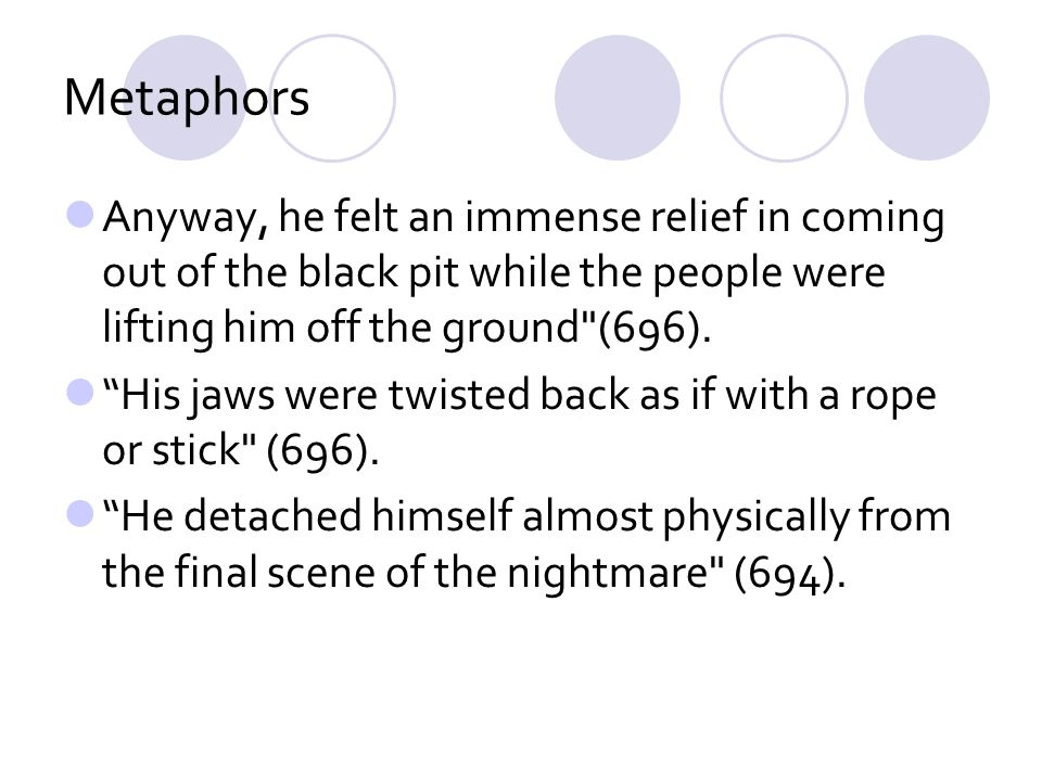 Metaphors Anyway, he felt an immense relief in coming out of the black pit while the people were lifting him off the ground (696).
