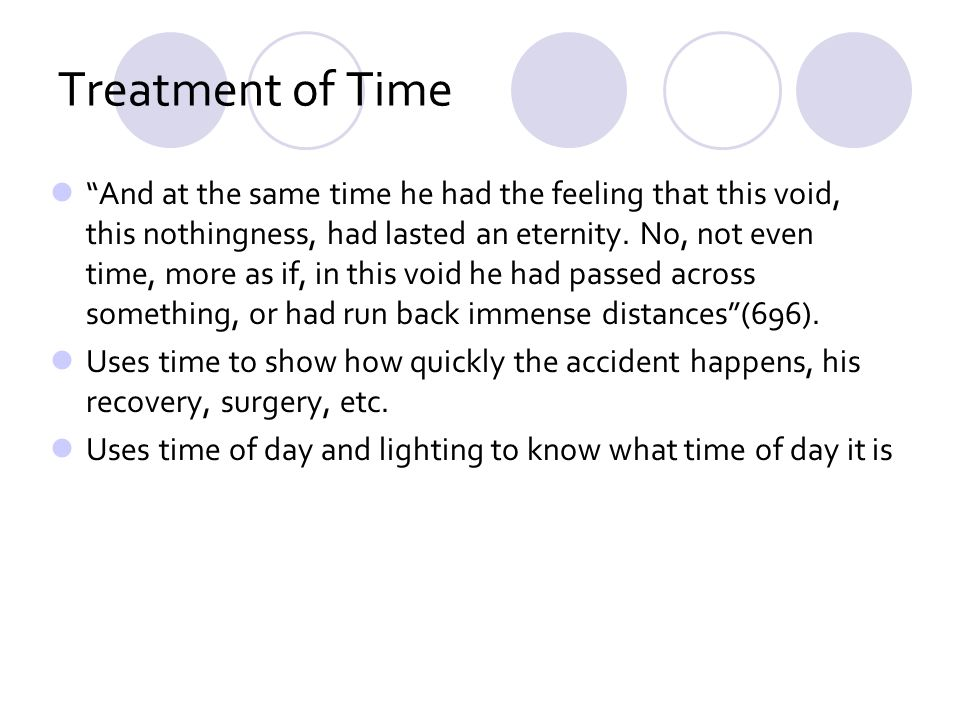 Treatment of Time And at the same time he had the feeling that this void, this nothingness, had lasted an eternity.