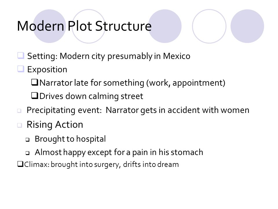 Modern Plot Structure Setting: Modern city presumably in Mexico Exposition Narrator late for something (work, appointment) Drives down calming street