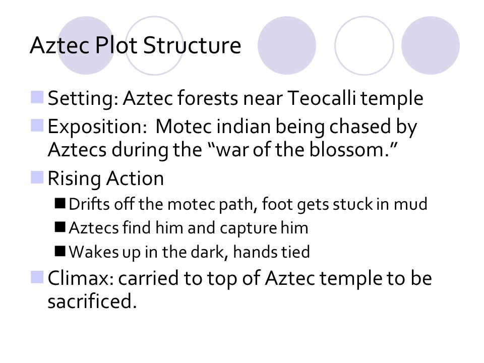 Aztec Plot Structure Setting: Aztec forests near Teocalli temple Exposition: Motec indian being chased by Aztecs during the war of the blossom. Rising