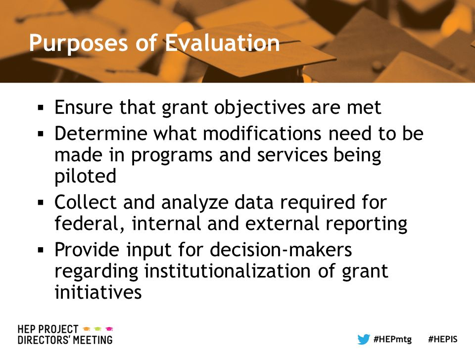 Purposes of Evaluation Ensure that grant objectives are met Determine what modifications need to be made in programs and services being piloted Collect and analyze data required for federal, internal and external reporting Provide input for decision-makers regarding institutionalization of grant initiatives