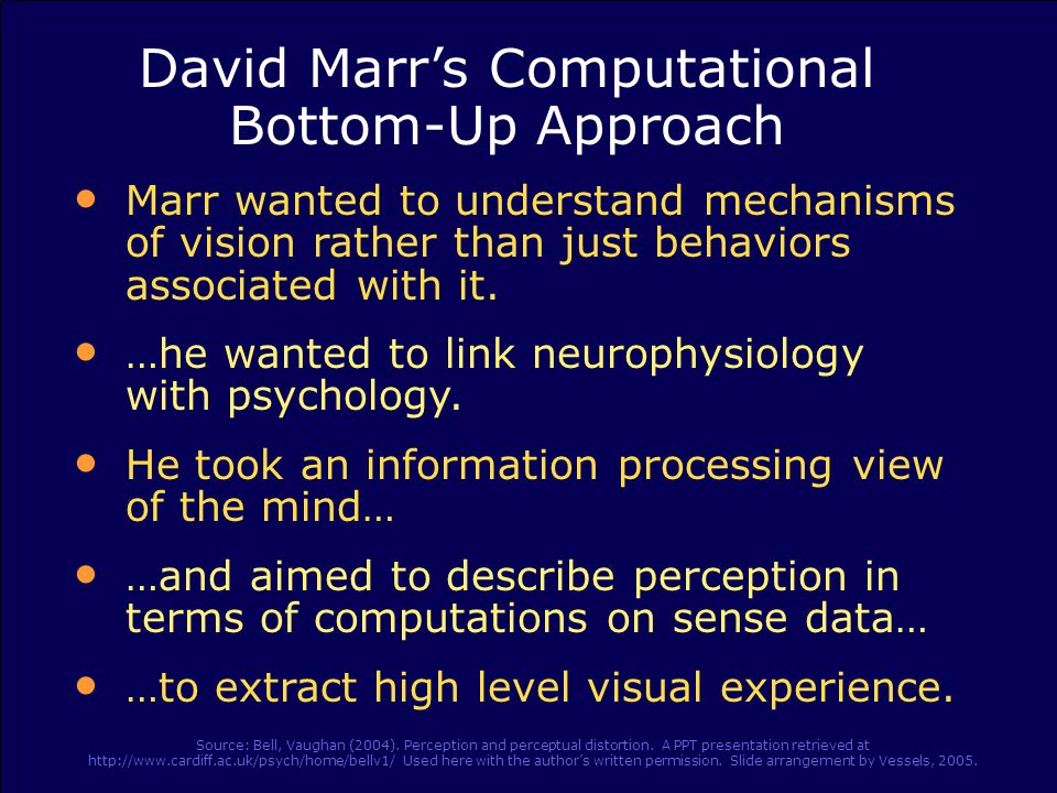 David Marrs Computational Bottom-Up Approach Marr wanted to understand mechanisms of vision rather than just behaviors associated with it. …he wanted