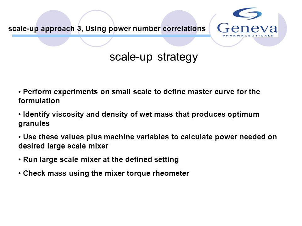 Charge powders and switch on mixer Note power reading Add water at constant rate At specific water contents note power reading and take sample Measure density of sample Measure viscosity of sample Calculate Power, Reynolds and Froude numbers Plot Power number relationship Experimental procedure scale-up approach 3, Using power number correlations