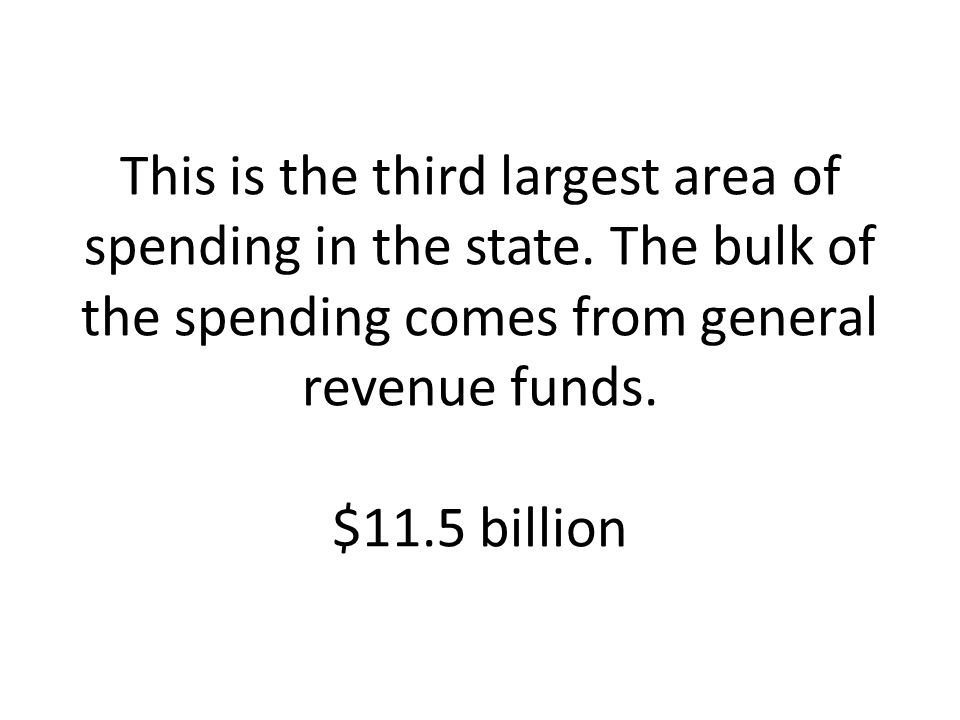 This is the third largest area of spending in the state. The bulk of the spending comes from general revenue funds. $11.5 billion