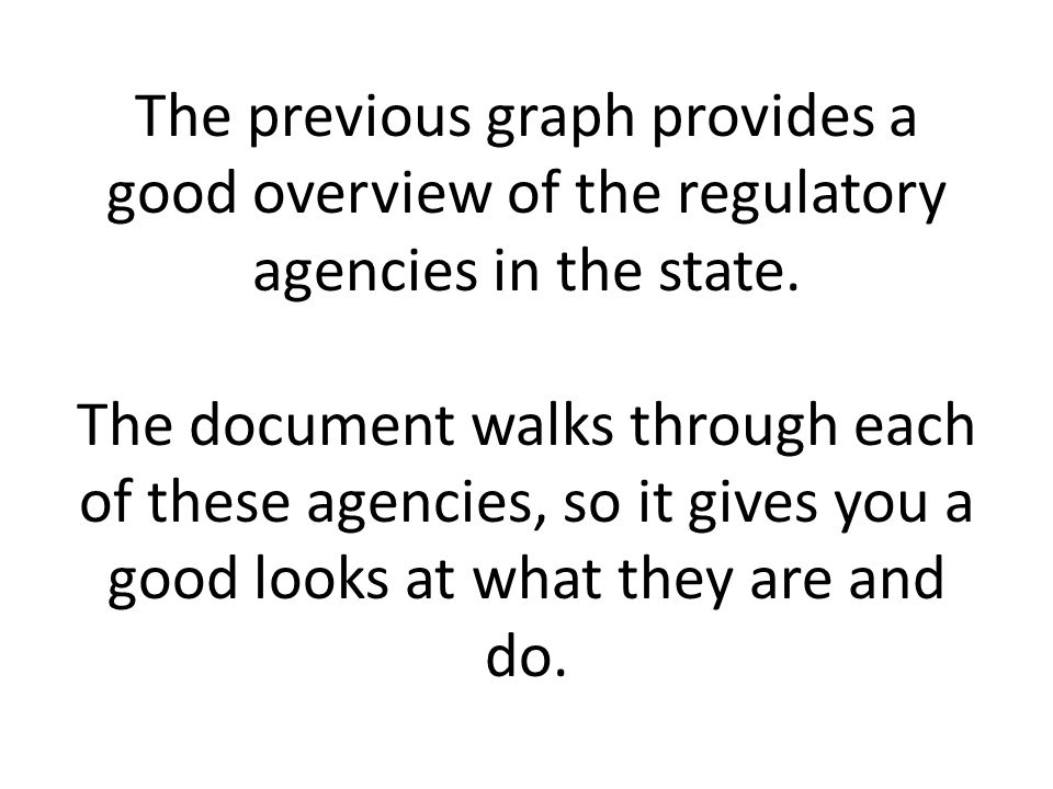The previous graph provides a good overview of the regulatory agencies in the state. The document walks through each of these agencies, so it gives yo