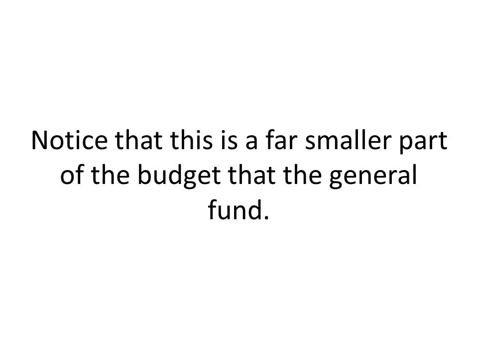 Notice that this is a far smaller part of the budget that the general fund.