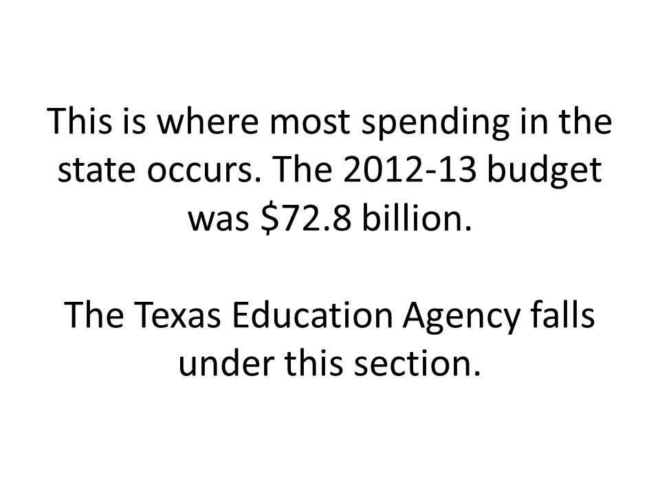 This is where most spending in the state occurs. The 2012-13 budget was $72.8 billion. The Texas Education Agency falls under this section.