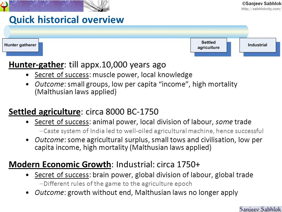 Quick historical overview Hunter-gather: till appx.10,000 years ago Secret of success: muscle power, local knowledge Outcome: small groups, low per capita income, high mortality (Malthusian laws applied) Settled agriculture: circa 8000 BC-1750 Secret of success: animal power, local division of labour, some trade - Caste system of India led to well-oiled agricultural machine, hence successful Outcome: some agricultural surplus, small tows and civilisation, low per capita income, high mortality (Malthusian laws applied) Modern Economic Growth: Industrial: circa 1750+ Secret of success: brain power, global division of labour, global trade - Different rules of the game to the agriculture epoch Outcome: growth without end, Malthusian laws no longer apply