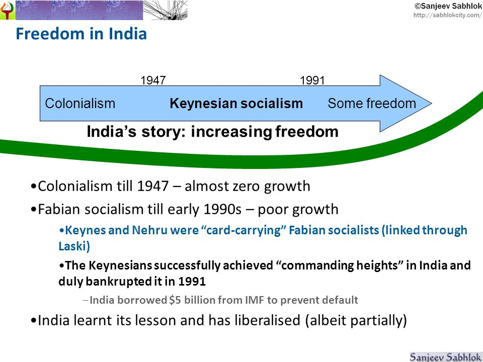 Freedom in India Colonialism Keynesian socialism Some freedom 19471991 Indias story: increasing freedom Colonialism till 1947 – almost zero growth Fabian socialism till early 1990s – poor growth Keynes and Nehru were card-carrying Fabian socialists (linked through Laski) The Keynesians successfully achieved commanding heights in India and duly bankrupted it in 1991 - India borrowed $5 billion from IMF to prevent default India learnt its lesson and has liberalised (albeit partially)