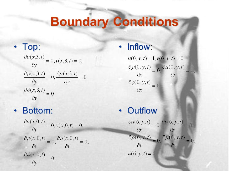 Boundary Conditions Top:Top: Bottom:Bottom: InflowInflow: OutflowOutflow