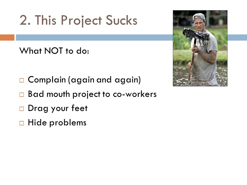 2. This Project Sucks What NOT to do: Complain (again and again) Bad mouth project to co-workers Drag your feet Hide problems