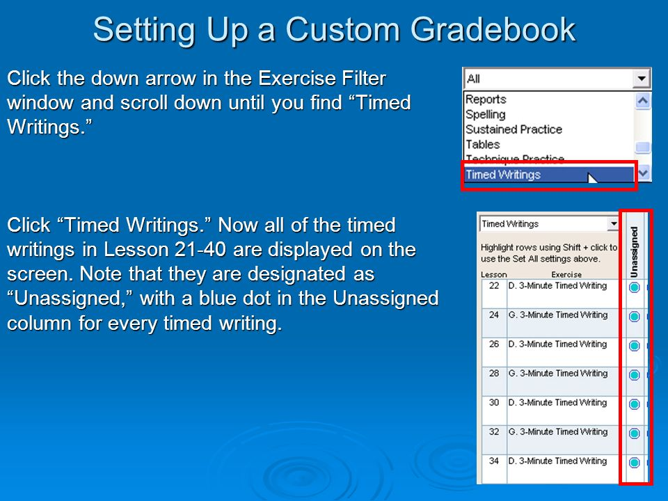 Setting Up a Custom Gradebook Click the down arrow in the Exercise Filter window and scroll down until you find Timed Writings.