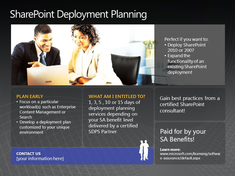 SharePoint Deployment Planning PLAN EARLY Focus on a particular workload(s) such as Enterprise Content Management or Search Develop a deployment plan customized to your unique environment WHAT AM I ENTITLED TO.