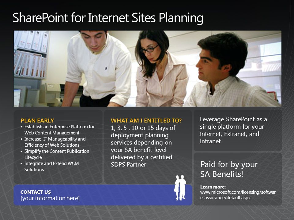 SharePoint for Internet Sites Planning PLAN EARLY Establish an Enterprise Platform for Web Content Management Increase IT Manageability and Efficiency of Web Solutions Simplify the Content Publication Lifecycle Integrate and Extend WCM Solutions WHAT AM I ENTITLED TO.