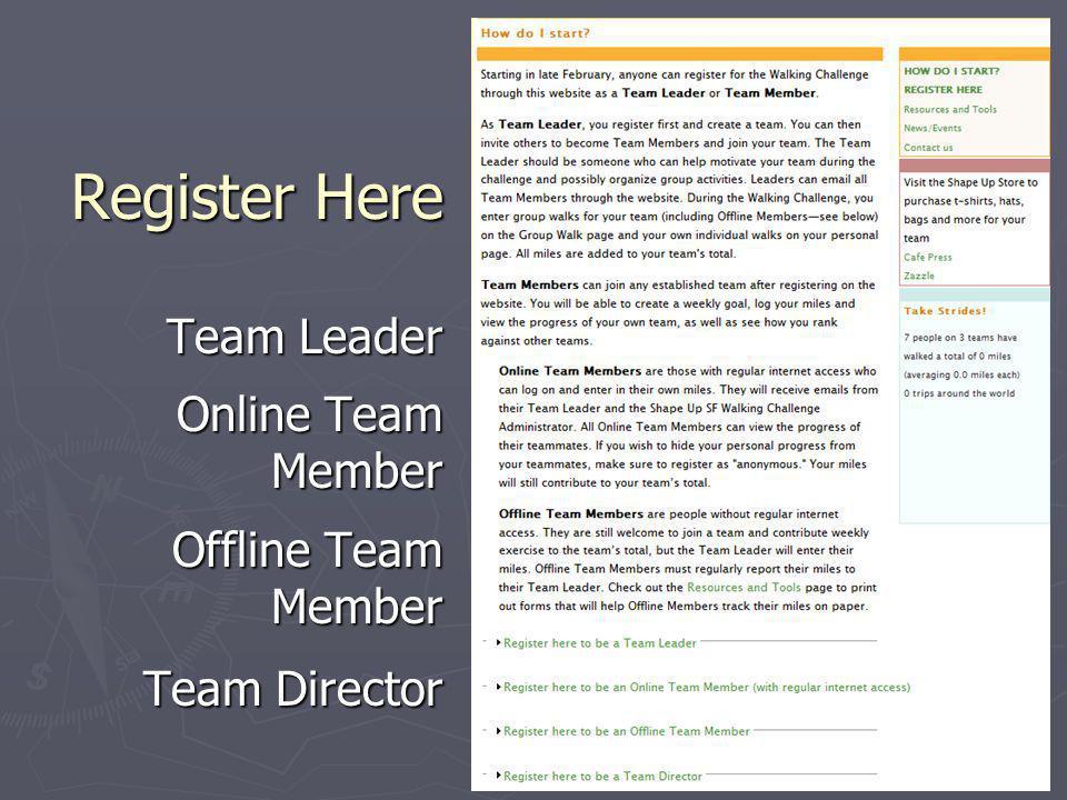 Register Here Team Leader Online Team Member Offline Team Member Team Director