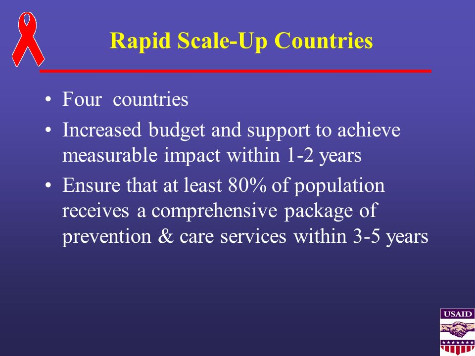 Rapid Scale-Up Countries Four countries Increased budget and support to achieve measurable impact within 1-2 years Ensure that at least 80% of populat