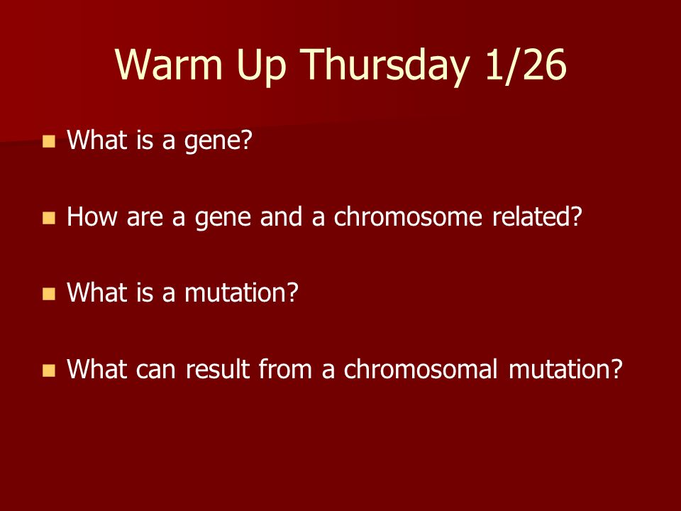 Warm Up Thursday 1/26 What is a gene? How are a gene and a chromosome related? What is a mutation? What can result from a chromosomal mutation?