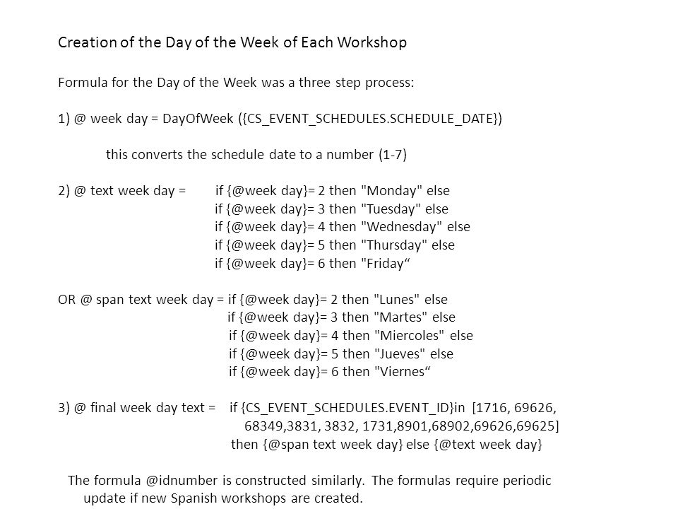 Creation of the Day of the Week of Each Workshop Formula for the Day of the Week was a three step process: 1) @ week day = DayOfWeek ({CS_EVENT_SCHEDU