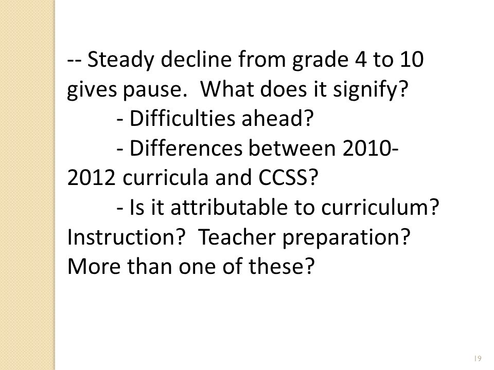 19 -- Steady decline from grade 4 to 10 gives pause.