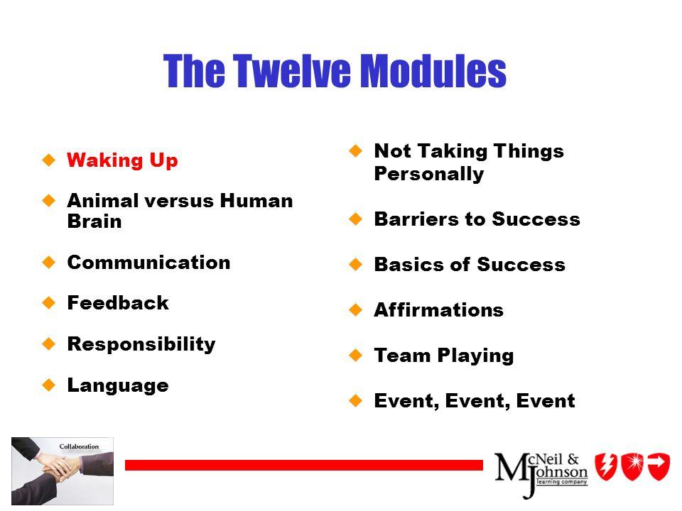 The Twelve Modules uWaking Up uAnimal versus Human Brain uCommunication uFeedback uResponsibility uLanguage uNot Taking Things Personally uBarriers to Success uBasics of Success uAffirmations uTeam Playing uEvent, Event, Event