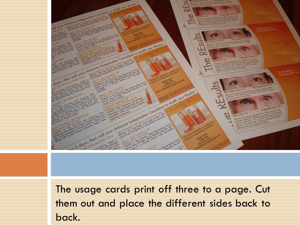 The usage cards print off three to a page. Cut them out and place the different sides back to back.