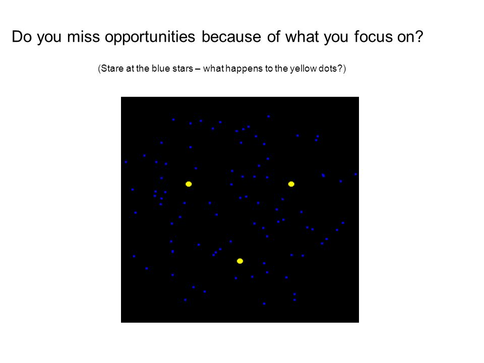 Do you miss opportunities because of what you focus on.