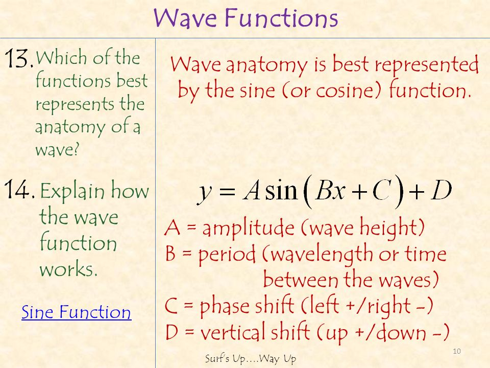 10 Explain how the wave function works. 14.
