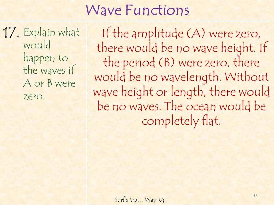 13 Surfs Up….Way Up If the amplitude (A) were zero, there would be no wave height.