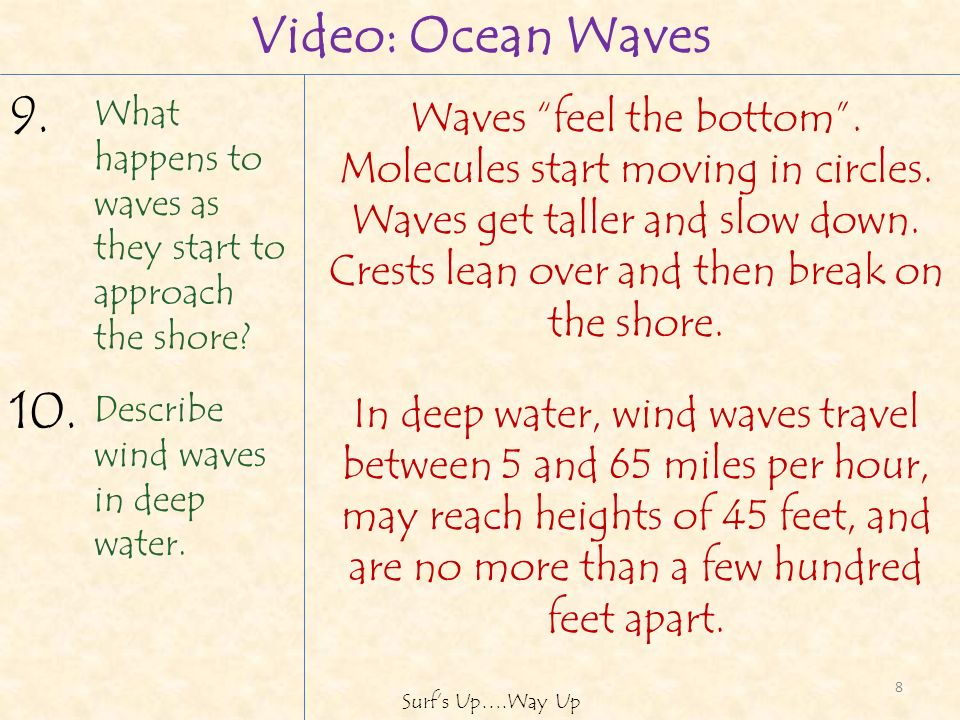 What happens to waves as they start to approach the shore.